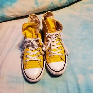 Yellow Hightop All Star Converse Size 8.5
